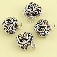 Brass Heart Pendants, antique silver color plated, hollow, lead & cadmium free, 14.90x18.70x7mm, Hole:Approx 3.5mm, Sold By PC