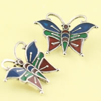 Cloisonne Pendant, Butterfly, handmade, lead & cadmium free, 28x21mm, Hole:Approx 2mm, Sold By PC