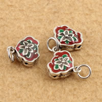 Cloisonne Pendant, Flower, handmade, lead & cadmium free, 13.20x17x4.70mm, Hole:Approx 3.5mm, Sold By PC