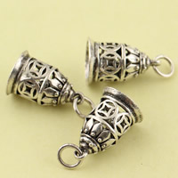 Hollow Brass Pendants, Bell, antique silver color plated, lead & cadmium free, 11.5mm, Hole:Approx 3.5mm, Sold By PC