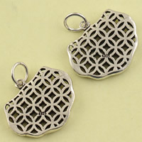 Hollow Brass Pendants, Longevity Lock, antique silver color plated, lead & cadmium free, 25x23.40x3.20mm, Hole:Approx 4mm, Sold By PC