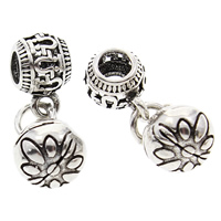 Hollow Brass Pendants, Round, antique silver color plated, lead & cadmium free, 9x23mm, Hole:Approx 3mm, Sold By PC