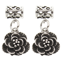 Hollow Brass Pendants, Flower, antique silver color plated, lead & cadmium free, 12x24x5mm, Hole:Approx 3mm, Sold By PC