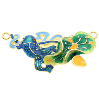 Cloisonne Connector, Fish, handmade, 1/1 loop, lead & cadmium free, 43x21x5mm, Hole:Approx 2mm, Sold By PC
