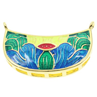 Cloisonne Pendant, Moon, handmade, lead & cadmium free, 28x18x5mm, Hole:Approx 1mm, Sold By PC