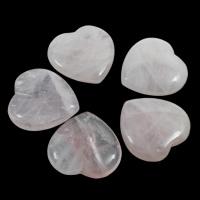 Rose Quartz Beads, Heart, 35x35x8mm, Hole:Approx 1mm, 50PCs/Bag, Sold By Bag