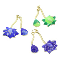 Cloisonne Pendants, Lotus, handmade, more colors for choice, 17x30x3mm, Hole:Approx 3.5mm, 10PCs/Bag, Sold By Bag