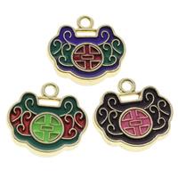Cloisonne Pendants, Longevity Lock, handmade, more colors for choice, 17x17x3mm, Hole:Approx 2mm, 10PCs/Bag, Sold By Bag