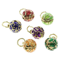 Cloisonne Bell Charm, Round, handmade, more colors for choice, 12x15mm, Hole:Approx 6mm, 10PCs/Bag, Sold By Bag