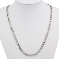 Stainless Steel Chain Necklace figaro chain original color 6x14x1mm Sold Per Approx 20.5 Inch Strand