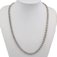 Stainless Steel Chain Necklace, twist oval chain, original color, 6x9x1mm, Sold Per Approx 22 Inch Strand