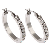 Stainless Steel Hoop Earring, with rhinestone, original color, 25x27x3mm, Sold By Pair