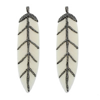 Synthetic Ivory Pendant, with Rhinestone Clay Pave & Brass, Feather, plumbum black color plated, white, 21x91x6mm, Hole:Approx 5x8mm, 3PCs/Lot, Sold By Lot