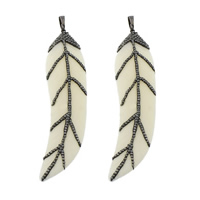 Synthetic Ivory Pendant, with Rhinestone Clay Pave & Brass, Feather, plumbum black color plated, white, 20x87.50x6mm, Hole:Approx 5x8mm, 3PCs/Lot, Sold By Lot