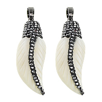 Synthetic Ivory Pendant, with Rhinestone Clay Pave & Brass, Feather, plumbum black color plated, white, 13.50x38x8mm, Hole:Approx 5x8mm, 3PCs/Lot, Sold By Lot