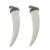 Синтетические цвета слоновой кости Кулон, Синтетические Цвет слоновой кости, с клей & Латунь, Хорн, черный свнец, белый, 16x67x16mm, отверстие:Приблизительно 5x8mm, 3ПК/Лот, продается Лот