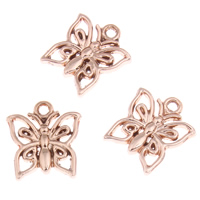 Zinc Alloy Animal Pendants, Butterfly, real rose gold plated, lead & cadmium free, 13x14x2mm, Hole:Approx 1mm, 20PCs/Bag, Sold By Bag