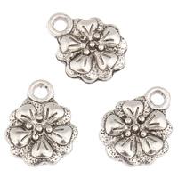 Zinc Alloy Flower Pendants, antique silver color plated, lead & cadmium free, 13x17x3mm, Hole:Approx 2mm, 100PCs/Bag, Sold By Bag