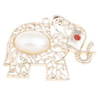 Zinc Alloy Animal Pendants, with ABS Plastic Pearl, Elephant, real gold plated, with rhinestone, lead & cadmium free, 61x47x10mm, Hole:Approx 3mm, Sold By PC