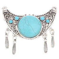 Zinc Alloy Connector, with Turquoise, antique silver color plated, 1/1 loop, lead & cadmium free, 68x66x10mm, Hole:Approx 2mm, Sold By PC