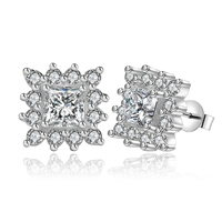 Cubic Zirconia Micro Pave Brass Earring, silver color plated, with cubic zirconia, nickel, lead & cadmium free, 14x14mm, Sold By Pair