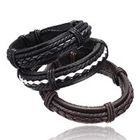 PU Cord Bracelets, with Nylon Cord, adjustable, more colors for choice, 15mm, Sold Per 7 Inch Strand