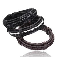 PU leder koord armbanden, met Nylon Koord, verstelbaar, meer kleuren voor de keuze, 15mm, Per verkocht 7 inch Strand