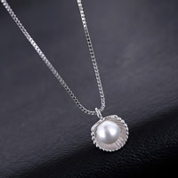 925 Sterling Silver Pearl Necklace, with Freshwater Pearl, natural & box chain, 10-15mm, Sold Per Approx 15 Inch Strand