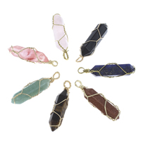 Mixed Gemstone Pendants, with Brass, pendulum, gold color plated, different materials for choice, 10x40x12mm-13x47x8mm, Hole:Approx 4mm, Sold By PC