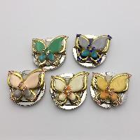 Мода Вешалка мешка, цинковый сплав, бабочка, Другое покрытие, эмаль & со стразами, Много цветов для выбора, не содержит никель, свинец, 45x65x12mm, 3PC/Лот, продается Лот