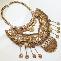Vintage Coin Statement Necklace, Zinc Alloy, with 2lnch extender chain, Tassel, antique gold color plated, curb chain, nickel, lead & cadmium free, Length:Approx 12 Inch, 3Strands/Lot, Sold By Lot