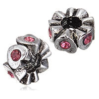 Zinc Alloy European Beads, Rondelle, antique silver color plated, without troll & with rhinestone, nickel, lead & cadmium free, 5x10mm, Hole:Approx 4.5mm, 100PCs/Lot, Sold By Lot