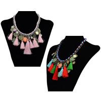 Сеть Тканые ожерелье, цинковый сплав, с Нейлоновый шнурок & Кристаллы, с 2lnch наполнитель цепи, кисточка, Другое покрытие, твист овал & граненый, Много цветов для выбора, не содержит никель, свинец, 90mm, длина:Приблизительно 15 дюймовый, 3пряди/Лот, продается Лот