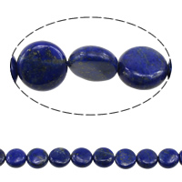 Natural Lapis Lazuli Beads, Flat Round, 12x4-6mm, Hole:Approx 1.5mm, Length:Approx 15.5 Inch, 2Strands/Lot, Approx 33PCs/Strand, Sold By Lot
