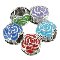 Zinc Alloy European Beads, Flower, antique silver color plated, without troll & enamel, more colors for choice, nickel, lead & cadmium free, 10x9x8mm, Hole:Approx 4.5mm, 200PCs/Lot, Sold By Lot