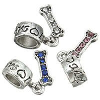 European Zinc Alloy Pendants, Dog Bone, antique silver color plated, with letter pattern & without troll & with rhinestone, more colors for choice, nickel, lead & cadmium free, 6x12.5x1.5mm, 4.5x11x7.5mm, Hole:Approx 4.5mm, 200PCs/Lot, Sold By Lot