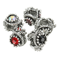 Zinc Alloy European Beads, antique silver color plated, without troll & with rhinestone, more colors for choice, nickel, lead & cadmium free, 9.50x12mm, Hole:Approx 5mm, 200PCs/Lot, Sold By Lot