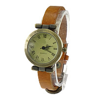 Unisex Wrist Watch, Cowhide, with zinc alloy dial, antique bronze color plated, orange, nickel, lead & cadmium free, 23x29mm, Length:Approx 9.4 Inch, 8Strands/Lot, Sold By Lot
