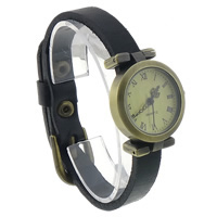 Unisex Wrist Watch, Cowhide, with zinc alloy dial, antique bronze color plated, black, nickel, lead & cadmium free, 25mm, Length:Approx 9.4 Inch, 8Strands/Lot, Sold By Lot