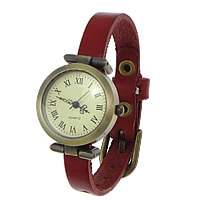 Unisex Wrist Watch, Cowhide, with zinc alloy dial, antique bronze color plated, red, nickel, lead & cadmium free, 33x29mm.10mm, Length:Approx 9.4 Inch, 8Strands/Lot, Sold By Lot