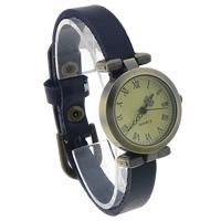 Zegarek unisex, Sznur z krowiej skóry, ze Tarcza ze stopów cynku, Platerowane kolorem starego brązu, niebieski, bez zawartości niklu, ołowiu i kadmu, 25mm, długość:około 9.4 cal, 8nici/wiele, sprzedane przez wiele