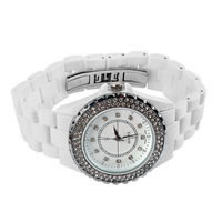 Unisex Wrist Watch, Porcelain, with zinc alloy dial, platinum color plated, different size for choice & with rhinestone, white, nickel, lead & cadmium free, 3Strands/Lot, Sold By Lot