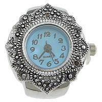 цинковый сплав Часы-кольцо, с Стеклянный, Плоская круглая форма, Платиновое покрытие платиновым цвет, регулируемый & чернеют, не содержит никель, свинец, 22x27mm, 20ПК/Лот, продается Лот