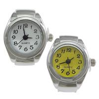 цинковый сплав Часы-кольцо, с Стеклянный, Плоская круглая форма, Платиновое покрытие платиновым цвет, регулируемый, Много цветов для выбора, не содержит никель, свинец, 18x25mm, 20ПК/Лот, продается Лот