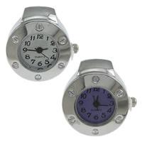 цинковый сплав Часы-кольцо, с Стеклянный, Плоская круглая форма, Платиновое покрытие платиновым цвет, регулируемый, Много цветов для выбора, не содержит никель, свинец, 22x26mm, 20ПК/Лот, продается Лот