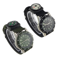 Unisex Wrist Watch, PU, with Nylon & Glass & Plastic & Zinc Alloy, platinum color plated, with compass & japanese movement, more colors for choice, nickel, lead & cadmium free, 44x41x12mm, 24x24x12mm, 21mm, Length:Approx 9.5 Inch, 10Strands/Lot, Sold By Lot