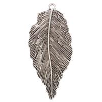 Sinkkiseos Feather riipukset, Lehtiä, antiikki hopea päällystetty, lyijy ja sen kadmium vapaa, 27x66x2mm, Reikä:N. 2mm, 10PC/laukku, Myymät laukku