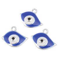 Evil Eye Pendants, Zinc Alloy, silver color plated, enamel, lead & cadmium free, 20x17x3mm, Hole:Approx 1mm, 10PCs/Bag, Sold By Bag