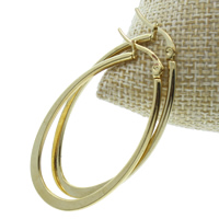 Stainless Steel Hoop Earring, gold color plated, 22x34x1.50mm, 10Pairs/Bag, Sold By Bag