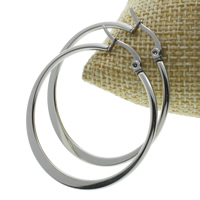 Stainless Steel Hoop Earring, original color, 38x41x2mm, 10Pairs/Bag, Sold By Bag